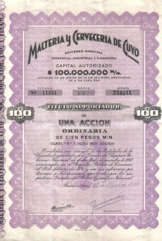 Argentina 1961 Malteria Cerveceria Cuyo Beer Brewery Co $100 Uncancelled Coupons photo