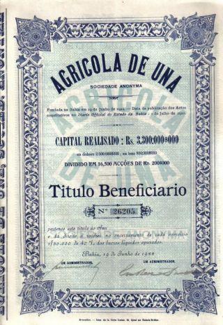 Brazil Bond 1922 Agricola Una Society Bahia Uncancelled Coupons Deco photo