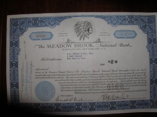 The Meadow Brook National Bank Stock Certificate - Indian Logo photo