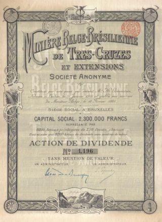 Brazil Belgium Bond 1901 Mining Miniere Tres Cruzes Co Uncancelled Deco photo