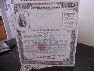 $50.  00 United States War Savings Bond Series Issued In 1942 ( photo