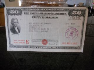 $50.  00 United States War Savings Bond photo