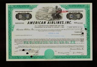 Aa : American Airlines Usd 1,  000 Old Bond Certificate Dd 1980 photo