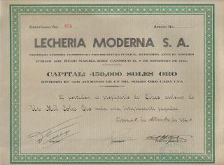 Peru 1943 Dairy Lecheria Moderna Co 1000 Soles Issued 450 Uncancelled photo