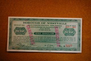 1933 Westville Jersey 1$ Scrip photo