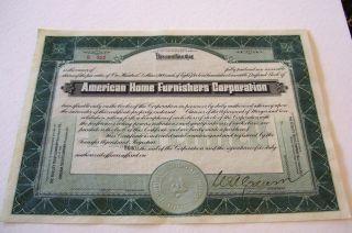American Home Furnishers Corporation Stock Cert.  B 922,  923 And 924 Norfolk,  Va. photo
