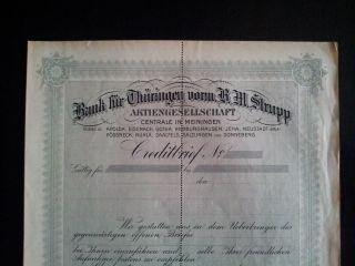 Rare Germany Creditbrief Bank Fur Turingen Vorm B.  M.  Strupp Russian Text 1900s photo