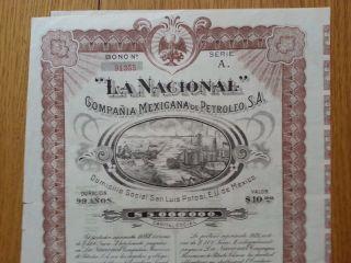 La Nacional Compania Mexicana De Petroleo San Luis Potosi Mexico 50 Coupons 1916 photo
