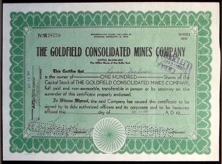 1947 Mining Stock Certificate - The Goldfield Consolidated Mines Co,  Nevada Mine photo