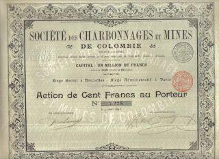 Colombia Bond 1898 Coal Charbonnages Mines 100 Fr Uncancelled Coupons photo
