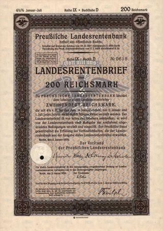 Germany 1935 Stock Bond 4 - 1/2 Loan 200 Mark Share W/watermark And Dry Seal Nazi photo