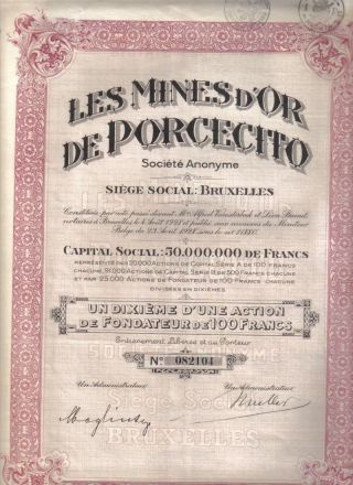 Colombia Bond 1928 Gold Mines Porcecito Co 100 Fr Uncancelled Coupons photo