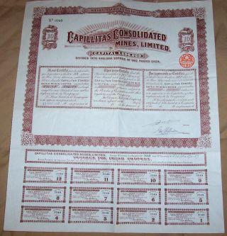 Uk Gb Argentina 1909 Capillitas Consolidated Mines 10 Shares £10 Uncancelled Cop photo
