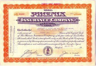 The Phoenix Insurance Company Stock Certificate Hartford Connecticut photo