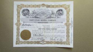 Circa 1964 East Utah Mining Company Stock Certificate Uncancelld Park Mining photo