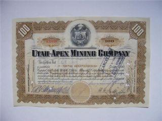 Utah - Apex Mining Company Stock Cert. photo