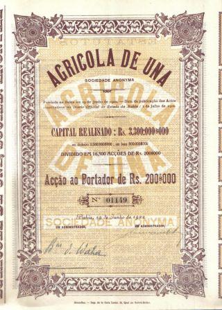 Brazil Bond 1922 Agricola Una Society Bahia Rs.  200$000 Uncancelled Coupons Deco photo