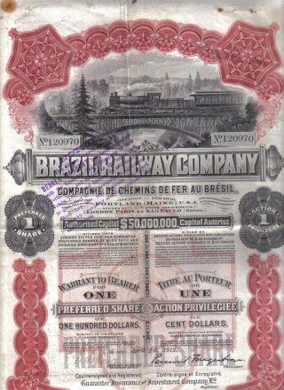 Bond 1912 Brazil Railway Company $100 Uncancelled 1 Share Deco Coupon Waterlow photo