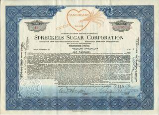 Rare Vintage Hawaii Stock Certificate: Spreckels Sugar Corporation photo