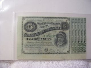 State Of Louisiana Baby Bond $5 1870 ' S Bond Certificate With 5 Coupns photo