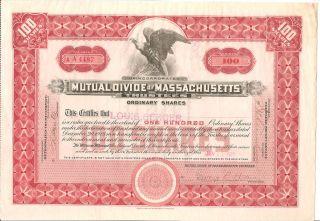 Mutual Divide Of Massachusetts 1922 100 Shares Stock Certificate photo