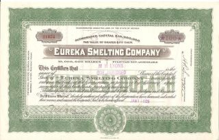Eureka Smelting Company Of Nevada 1929 100 Shares Stock Certificate photo