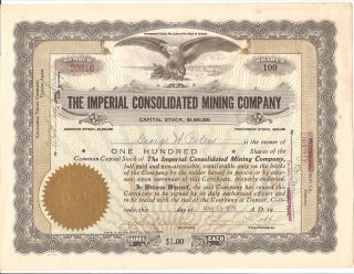 The Imperial Consolidated Mining Co.  Arizona.  1919 100 Shares Stock Certificate photo