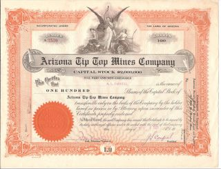 Arizona Tip Top Mines Co.  1921 100 Shares Stock Certificate photo