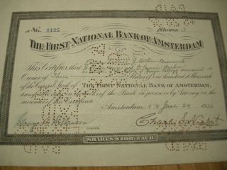 1926 First National Bank Of Amsterdam Stock Certificate Issued Cancelled Kellogg photo