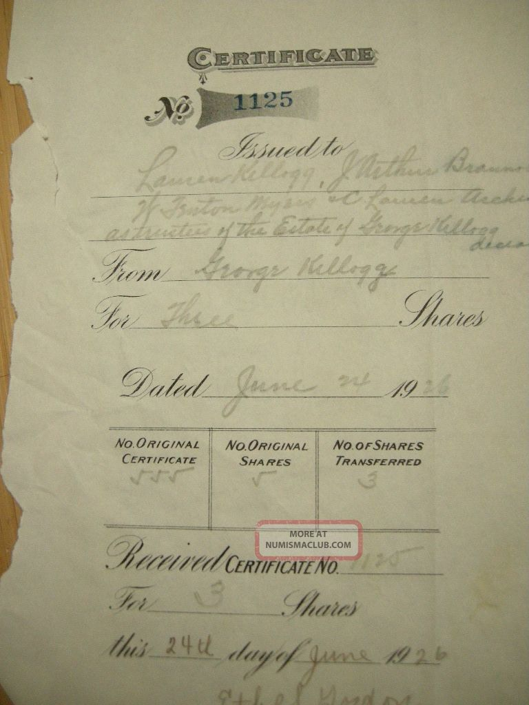 1926 First National Bank Of Amsterdam Stock Certificate Issued