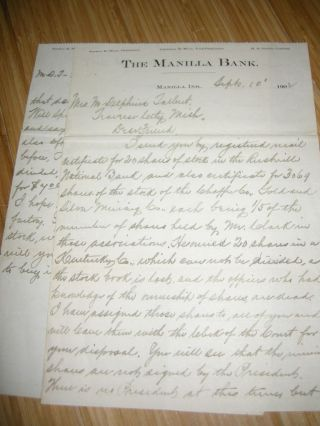 1906 Mining Stock Letters And Batillera Mining Co Postcard photo