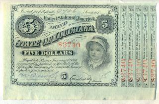 State Of Louisiana Baby Bond $5 1870 ' S Certificate Stock photo