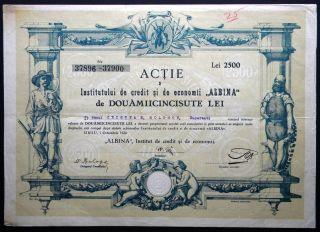 Romania,  Transylvania,  Albina Bank,  2.  500 Lei,  Sibiu 1922. photo