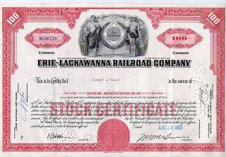 Erie Lackawanna Railroad Company Stock Certificate, photo