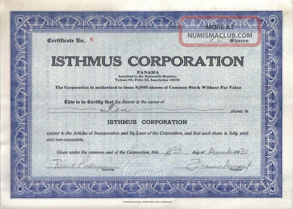 Panama Bond 1931 Isthmus Co 10 Shares Uncancelled Rare World photo