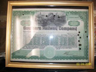 Southern Railway Company Common Railroad Stock Certificate In Euc photo