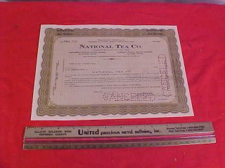 National Tea Company Stock Certificate Suitable For Framing photo