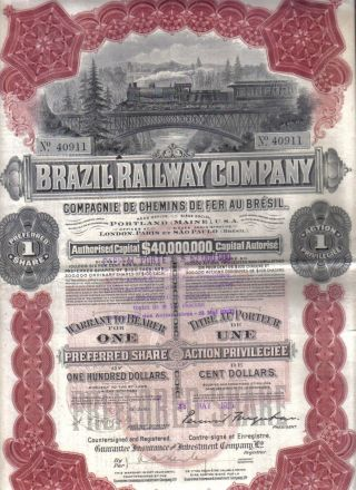 Brazil Railway Company 1910 Bond $100 Uncancelled 1 Share Deco Coupons Waterlow photo