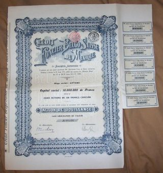 Mexico 1911 Credit Foncier Belgo Suisse Mexique Share Uncancelled Coupons Deco photo