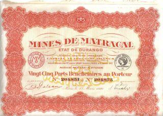 Mexico France 1926 Mining Mines Matracal Durango 25 Profit Share Uncancelled Cop photo