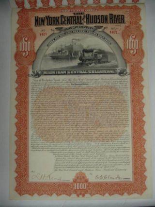 1898 N.  Y Central & Hudson River Railroad Bond Stock Certificate Rr photo