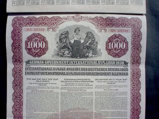 German Government 1000 Us$ Gold Bond Young Loan 1930 In Default,  Speculative photo