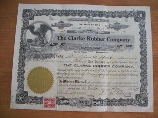 1919 Clarke Rubber Company,  Elyria,  Ohio Certificate photo