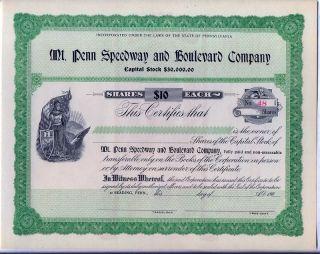 Penn Speedway & Boulevard Co.  Stock Certificate Auto Reading Pennsylvania photo
