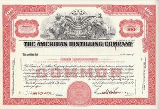 1933 American Distilling Company Specimen Stock Certificate Red Rare Brewery photo