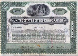 United States Steel Corporation Stock Certificate Us Jersey photo