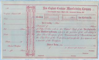 England Excelsior Manufacturing Company Stock Certificate Boston Ma Pre War photo