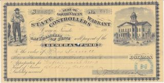 1883 Nevada State Controllers Warrant,  $245 For Clothing photo