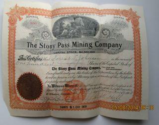 1903 Stock Silverton Colorado Stony Pass Mining Company 100 Shares photo