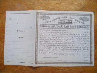 Hanover & York Railroad Company Bond photo